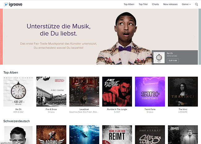 iGroove.ch, sell your music with a fair commission rate.
